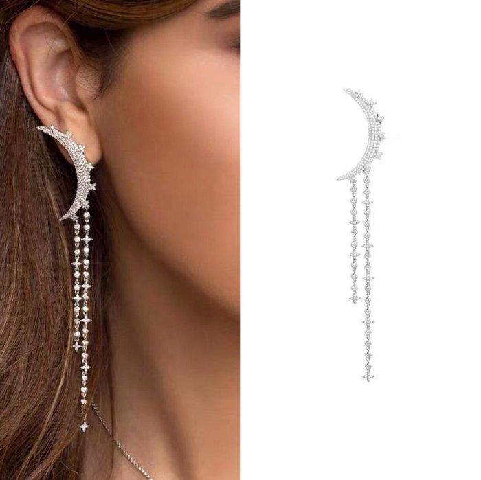 💎704、一千零一夜 純潔之月單側流蘇耳環(單戴或自由搭配) 💎 Swarovski Dior [EA093]