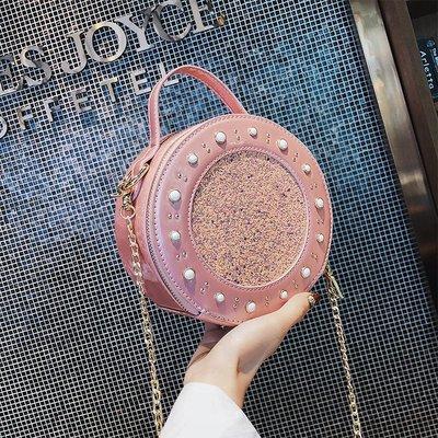 【Lady  luck包包】  上新包包女2018新款潮韓版ins超火斜挎亮片小圓包百搭chic鏈條包