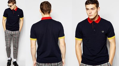 ◎美國代買◎ASOS代買Fred Perry黃色袖口紅色領口的深藍色短袖polo衫~男生款歐美街風~大尺碼~搶手貨