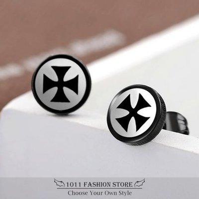 雙色 韓系 十字架 不鏽鋼 / 西德鋼 / 鈦鋼 男性 女性 耳環 / 耳釦 / 耳釘 ( 搖滾 / 重金屬) E18