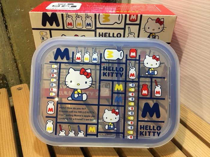 阿虎會社【D - 141】正版 三麗鷗 hello kitty KT 格紋 耐熱玻璃保鮮盒 耐熱玻璃便當盒 水果保鮮盒