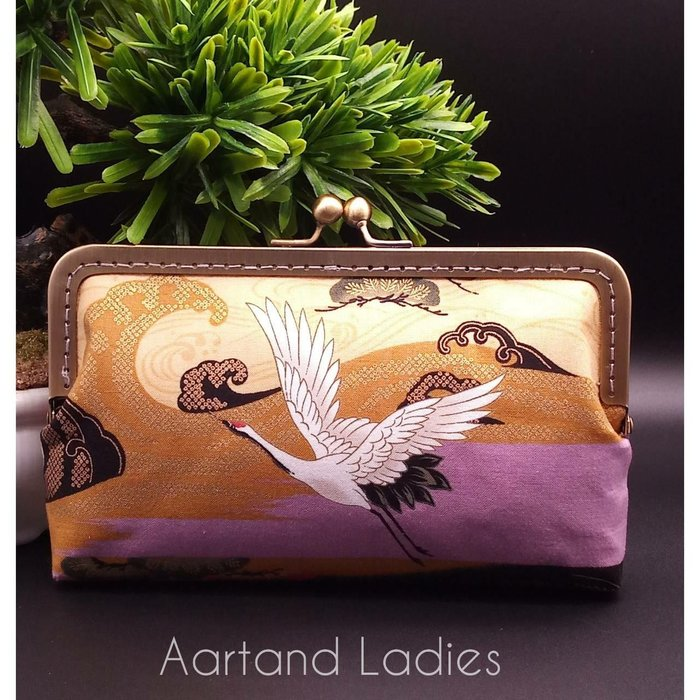Aartand Ladies-(紫)高雅雙面描金手機包手拿包斜背包