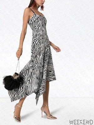 【WEEKEND】 SOLACE LONDON 低胸 細肩帶 不規則裙襬 連身裙 長洋 黑白 折扣