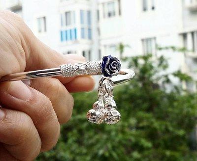 嗨,寶貝銀飾珠寶* 925純銀☆999足銀手工雕刻梅花 吉祥如意 花開富貴 大氣 純銀開口手環 手鐲