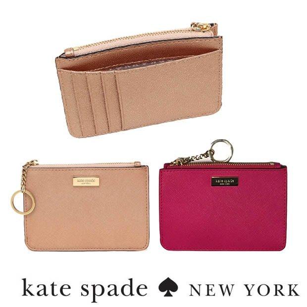 2018新款KATE SPADE logo金牌 素色防刮皮革拉鍊零錢卡片包信用卡 氣質粉紫 現貨免運↗小夫妻精品嚴選↖