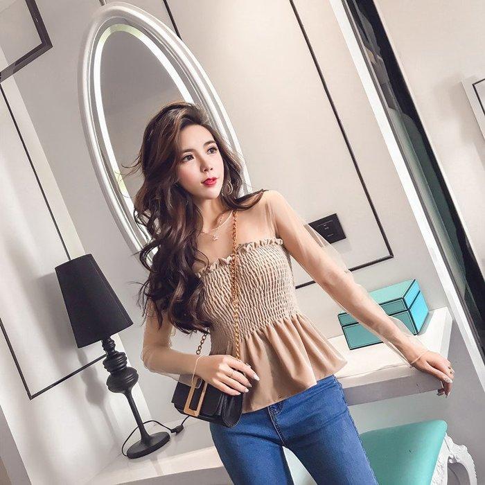 性感 日系 潮 流行 時尚百搭 韓國正韓 歐式洋氣小衫長袖春款上衣女時尚性感網紗拼接絲絨打底衫