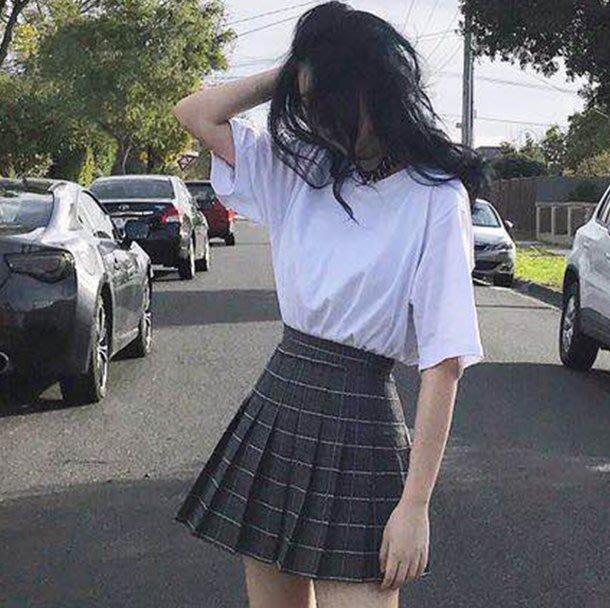 格子百褶裙ulzzang高腰原宿女夏2018新款學院風半身裙a字短裙褲  6546543213