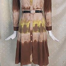 M515 萊卡佛LaiCarFore 大地色彩繪 圖案 棉彈性連身裙洋裝9號