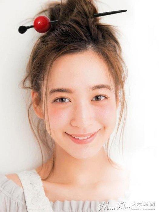 髮簪網紅糖果簪子韓國甜美簡約球球發釵和風丸子頭盤發