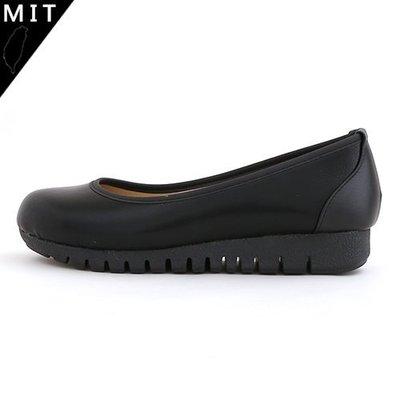 女款 MIT製造典雅素面舒適 全黑上班面試楔型厚底包鞋 Ovan