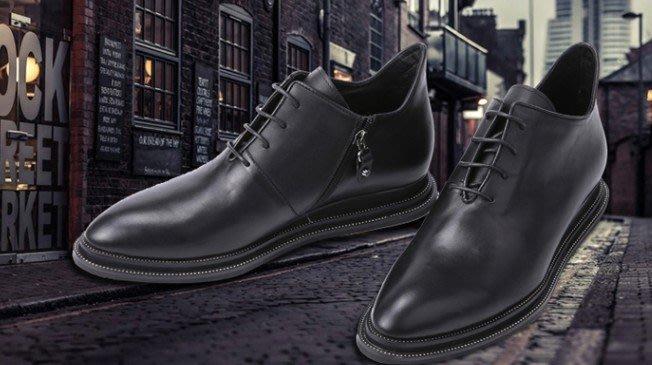 爵式正品男士牛皮皮靴真皮低筒靴正裝商務靴系帶尖頭英倫男靴短靴