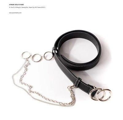 A PRANK DOLLY 黑色 搖滾風圓圈銀鍊裝飾可拆腰鍊皮帶 腰帶