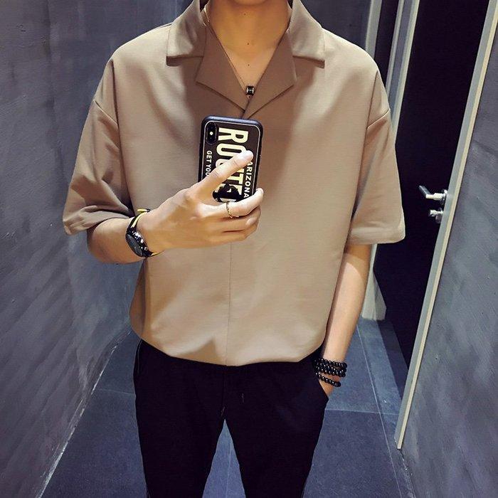 Korea Sense韓版 早春新品 素色翻領落肩五分短袖上衣 3色