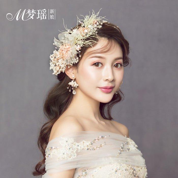 西柚姑娘雜貨鋪☛熱賣中#韓版森系發飾品套裝繡球花手工頭花結婚天然永生花頭飾品
