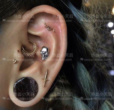 JOJO CLUBSOYA新款字母耳環耳飾SKULL EARRING朋克復古90S骷髏耳釘 一對
