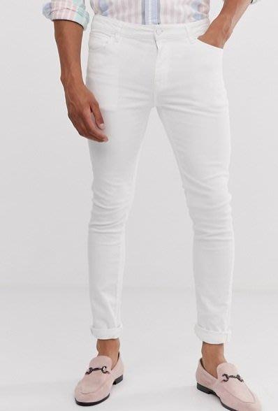 ◎美國代買◎ASOS反摺褲口經典百搭款英倫時尚街風白色顯廋合身牛仔褲~歐美街風~大尺碼~