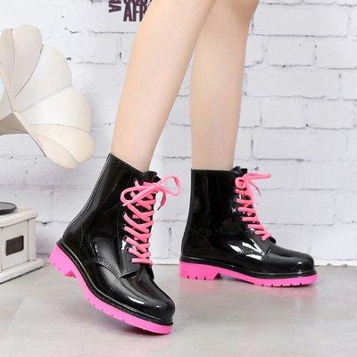 雨靴 繫帶女時尚短筒夏低筒水鞋防滑水靴中筒膠鞋成人防水