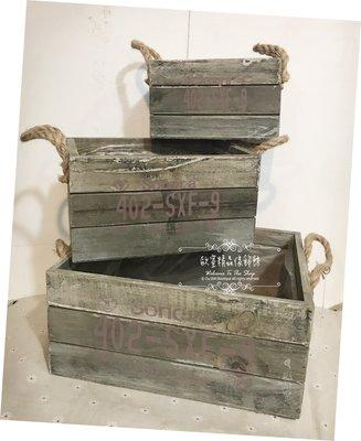 ~*歐室精品傢飾館*~Zakka 鄉村雜貨 Loft 工業 復古 刷舊 木箱 木盒 麻繩 擺飾 花盒 花器 ~新款上市~