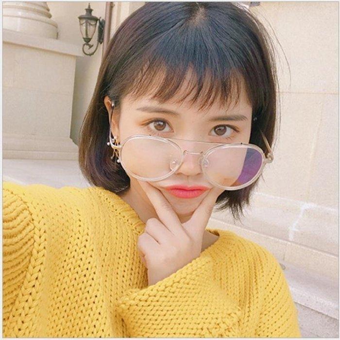 ☜男神閣☞韓國時尚透明白平光眼鏡光學眼鏡架大框圓臉眼