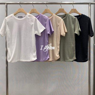 ::: i-MelOn :::100%韓國空運【現貨】素色坑條短袖T恤短版上衣※白