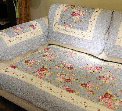 鄉村藍花卉拼布單人座沙發墊/地墊/扶手...