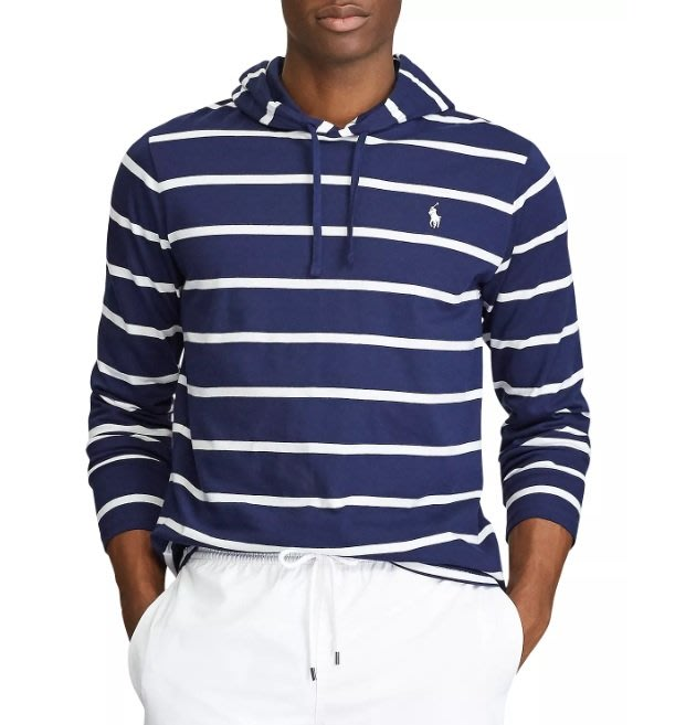 Polo Ralph Lauren 小馬 現貨 條文 長袖 薄帽T 成人款 藍/白