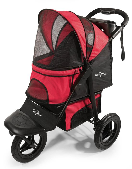 SNOW的家-【旅行雨罩組】美國Gen7pets G7寵物跑步車+專用雨罩-素紅色小方格