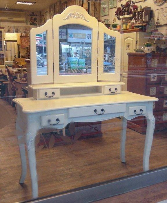 展品出清 南法鄉村風化妝桌鏡組 實木白色化妝桌鏡 白色梳妝桌台組  化妝鏡及梳妝台 實木化妝桌鏡 超低特價12800-