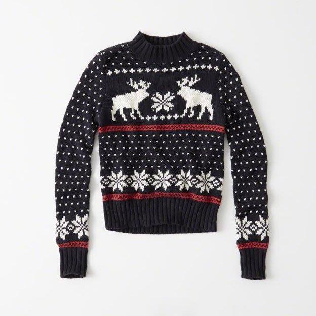 美國百分百【Abercrombie & Fitch】針織衫 AF 毛衣 麋鹿 線衫 聖誕節 禮物 深藍 女 H402
