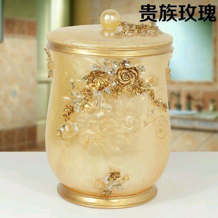 粉紅玫瑰精品屋~歐式奢華古典貴族玫瑰家居收納桶  垃圾桶~
