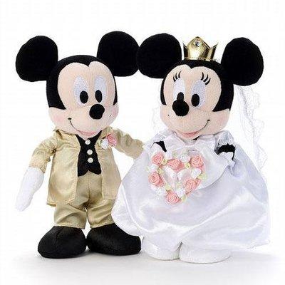 尼德斯Nydus~* 日本正版 迪士尼 米奇 米妮 結婚禮盒 娃娃 絨毛玩偶 公仔 西裝/禮服款