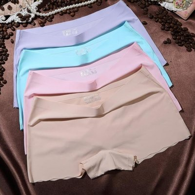 4條女士內褲女平角褲無痕冰絲夏季中腰大碼一片式全棉襠少女四角