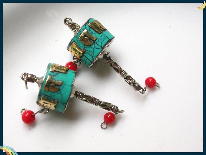 【雅之賞|藏傳|佛教文物】 *特賣*佛珠配件 尼泊爾手工迷你轉經筒掛吊墜(2個)~Q1502