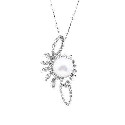 【JHT 金宏總珠寶/GIA鑽石專賣】10mm天然珍珠鑽墜/材質:18K(PP00042)