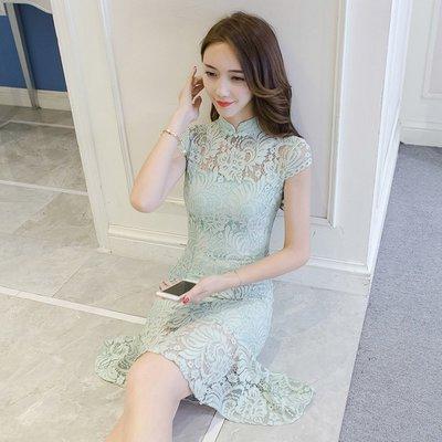新款女裝 清新氣質顯瘦立領中國結镂空蕾絲洋裝 拼接魚尾連身裙—莎芭