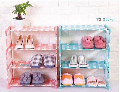 【T3】四層防水防髒鍍膜布藝鞋架 DIY鞋櫃 書櫃收納櫃置物櫃 【HH28】