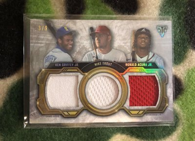 2020 Triple Threads GRIFFEY TROUT ACUNA Triple Relic 3/9