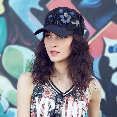 女鴨舌帽亮片棒球帽遮陽帽