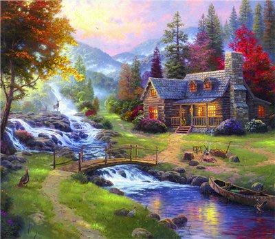 三幅一組油畫布  托馬斯歐式風景 畫芯/畫布/30X40☺暖暖屋☺傢居藝術館