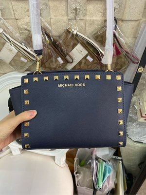 Michael Kors  Selma Leather Stud Crossbody 軍藍色皮革鉚釘款