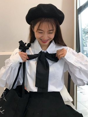 日和生活館 襯衫學生日韓寬鬆白襯衫女秋裝學院風蝴蝶結領帶泡泡袖襯衣S686