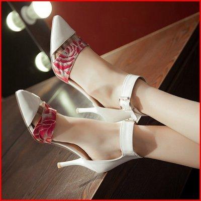 *鞋館Shoes hall*【A5312】獨特品味~唯美拼接尖頭高跟涼鞋~5色~(可訂做大尺碼)