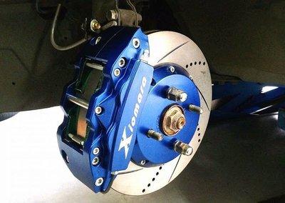 【Xiomara GT】煞車 卡鉗 活塞 碟盤 FORD TIERRA 286劃線打洞碟盤 街道版-大四卡鉗 陽極深藍
