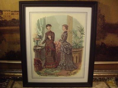歐洲古物時尚雜貨 法國 仕女畫 二女一拿羽毛筆掛畫 擺飾收藏品