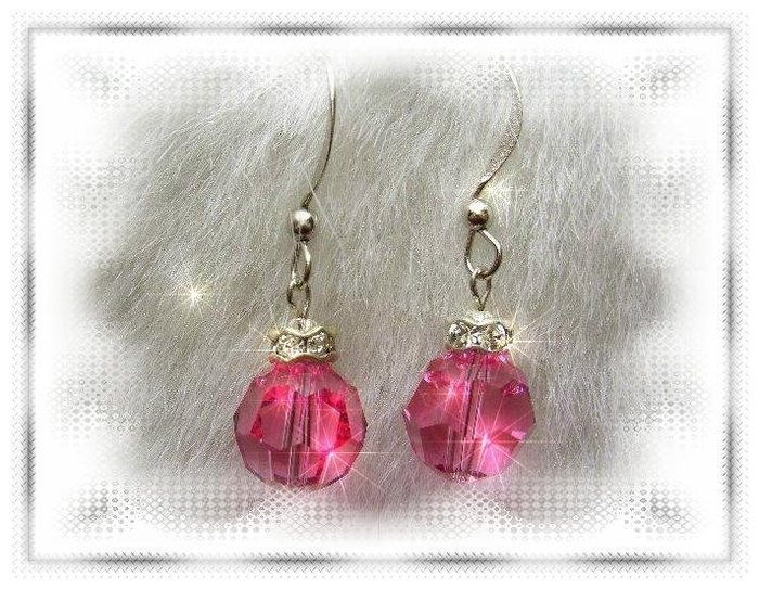 ※水晶玫瑰※ SWAROVSKI 10mm水晶珠 耳勾式耳環(DD329)~出清~三對免郵
