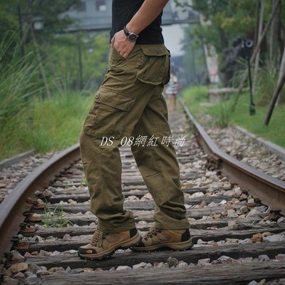 DS_08網紅時尚大碼休閒工裝褲Cargo Pants Men's Sports Baggy Cotton Trouser