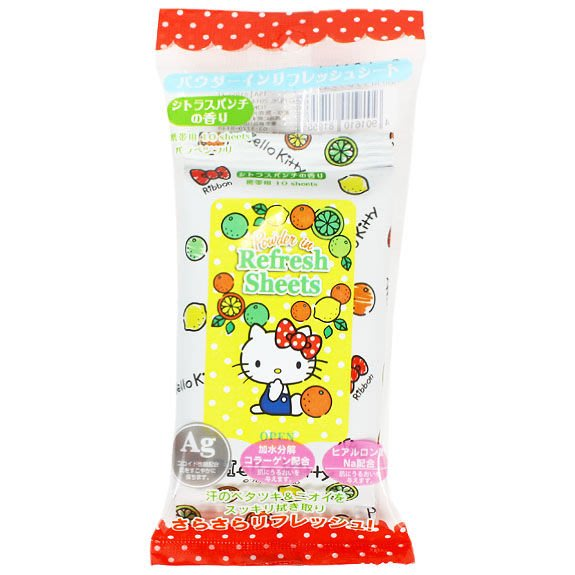 《Greens selection》日本三麗鷗HelloKitty凱蒂貓攜帶型/外出型濕紙巾(玻尿酸)含膠原蛋白成份