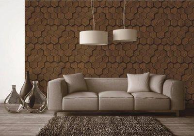 【夏法羅 窗藝】蜂巢與木紋 仿建材 幾何圖形 大幅寬 期貨壁紙 LS-2365 共三色