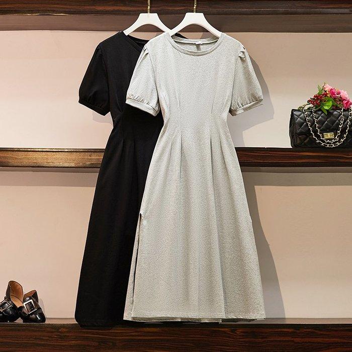 [C.M平價精品館]新品特價M~4XL/打摺收腰遮肚顯瘦性感雙層薄紗裙襬小圓領黑色長袖洋裝  加大碼