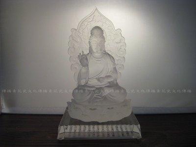 【傳播青花瓷文化】中國佛教藝術品-手工琉璃觀音佛像(佛像本身高約21cm/附底座)